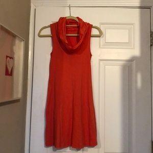 3 dot orange cowl neck dress size small